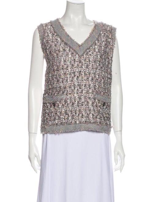 Chanel 2004 Tweed Pattern Top Purple