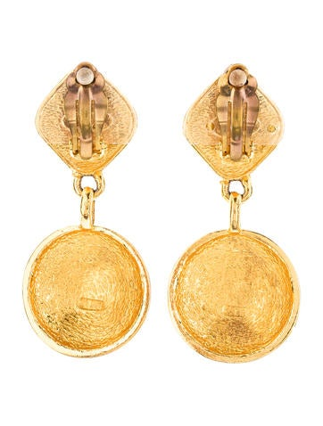 Quilted CC Drop Earrings