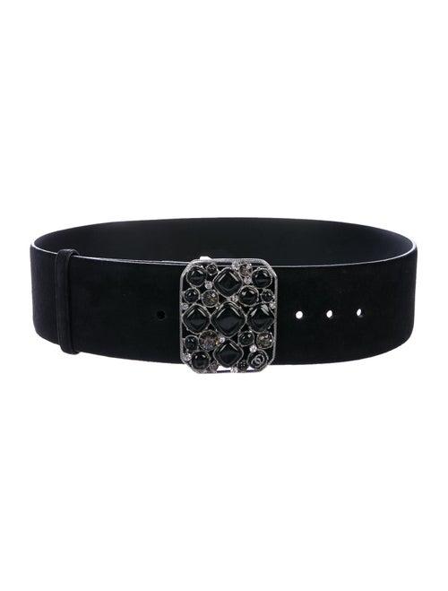 Chanel Gripoix Suede Belt Black