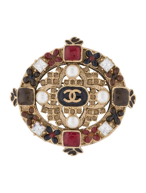 Chanel Faux Pearl, Strass & Gripoix CC Brooch Gold