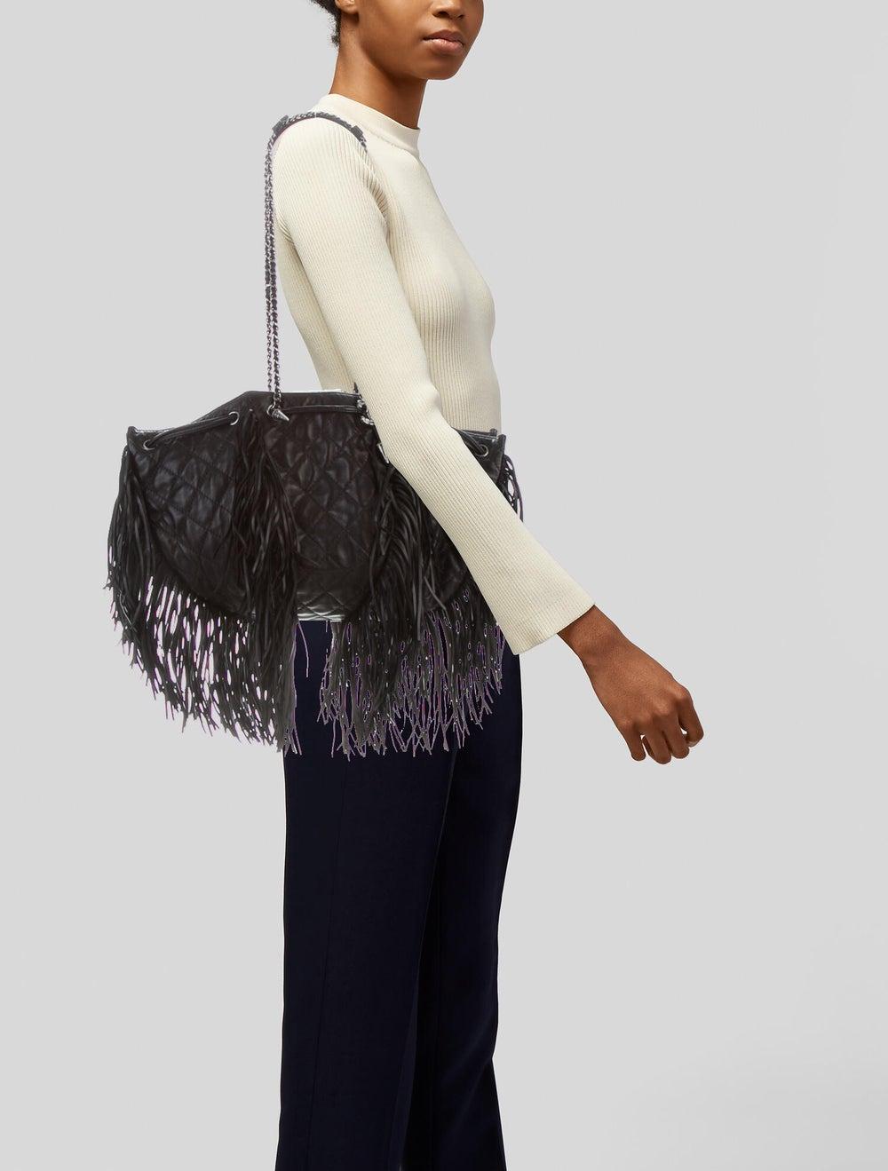 Chanel Western Baluchon Fringe Bag Black - image 2