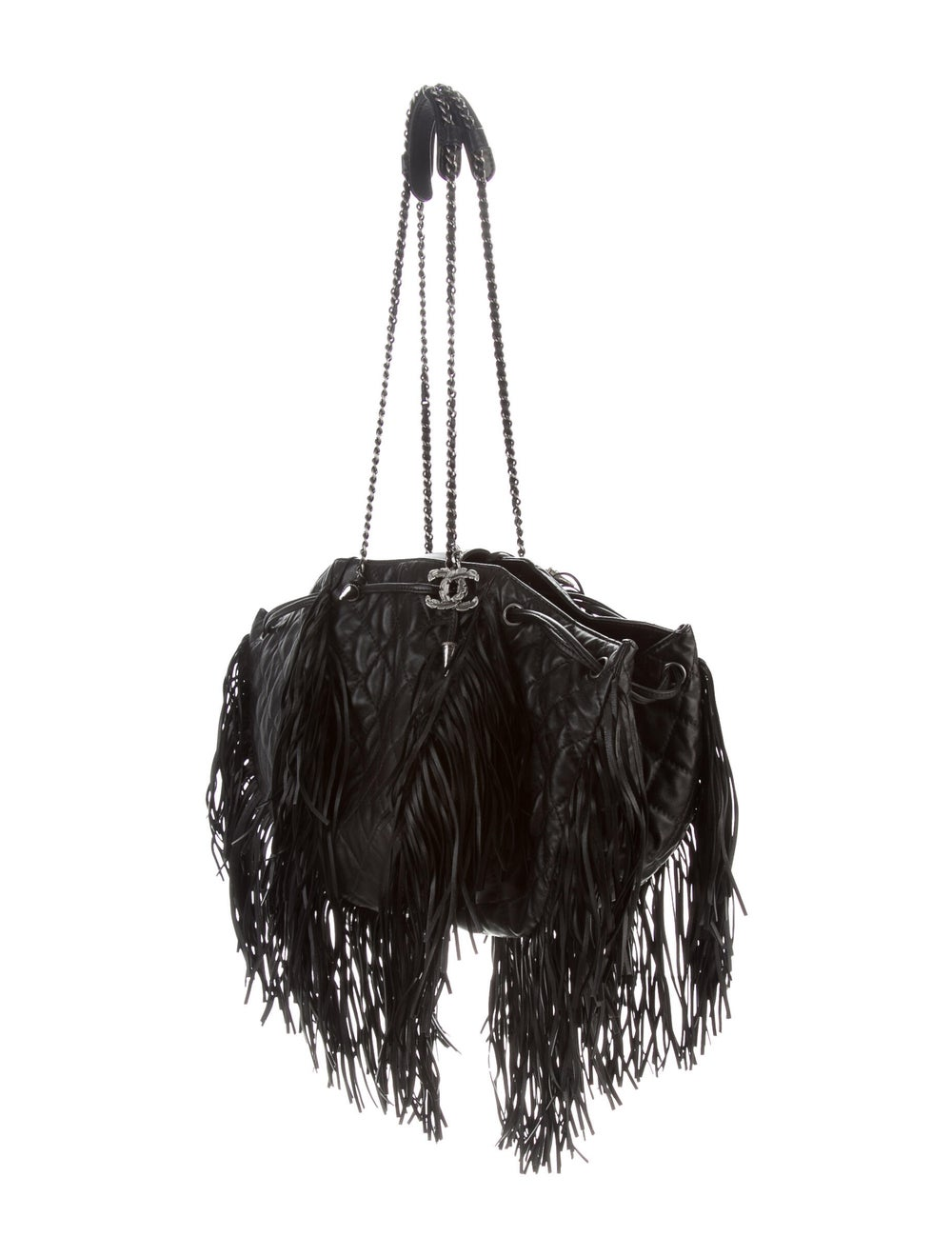 Chanel Western Baluchon Fringe Bag Black - image 3