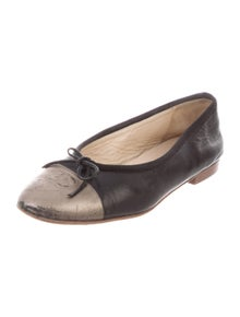 Chanel Leather Bow Accents Ballet Flats