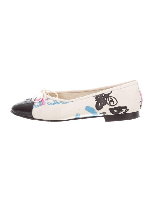 Chanel Printed Bow Accents Ballet Flats