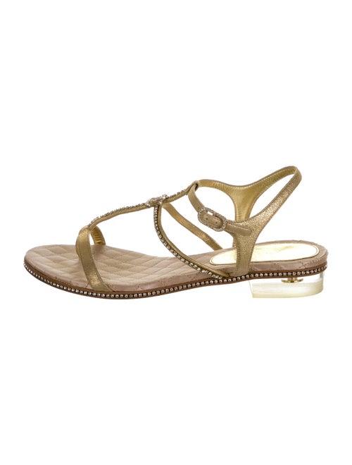 Chanel CC Metallic Sandals Leather Sandals Metalli