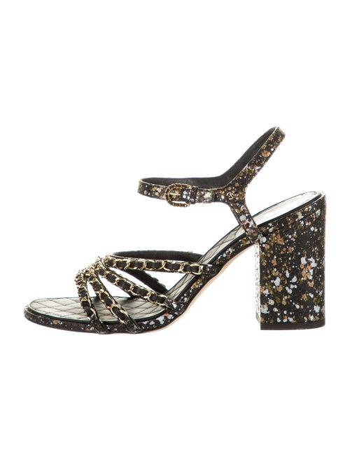 Chanel Python Chain-Link Sandals Snakeskin Sandals