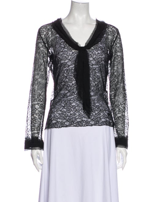 Chanel 2004 Sheer Lace Blouse Top Black