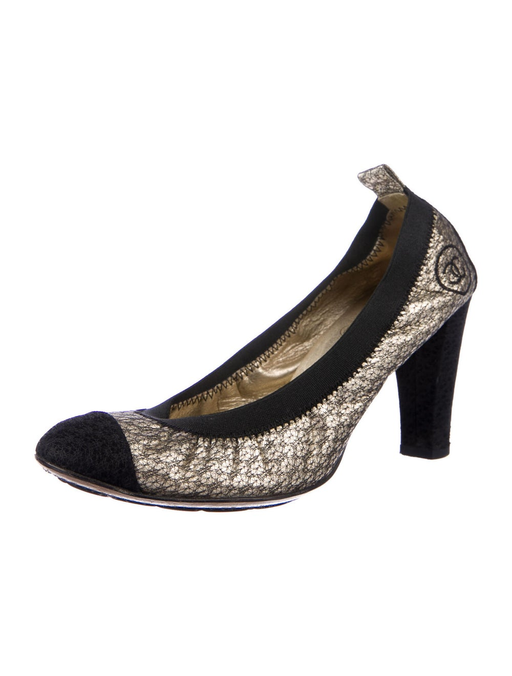 Chanel CC Lace Pumps Pumps Metallic - image 2
