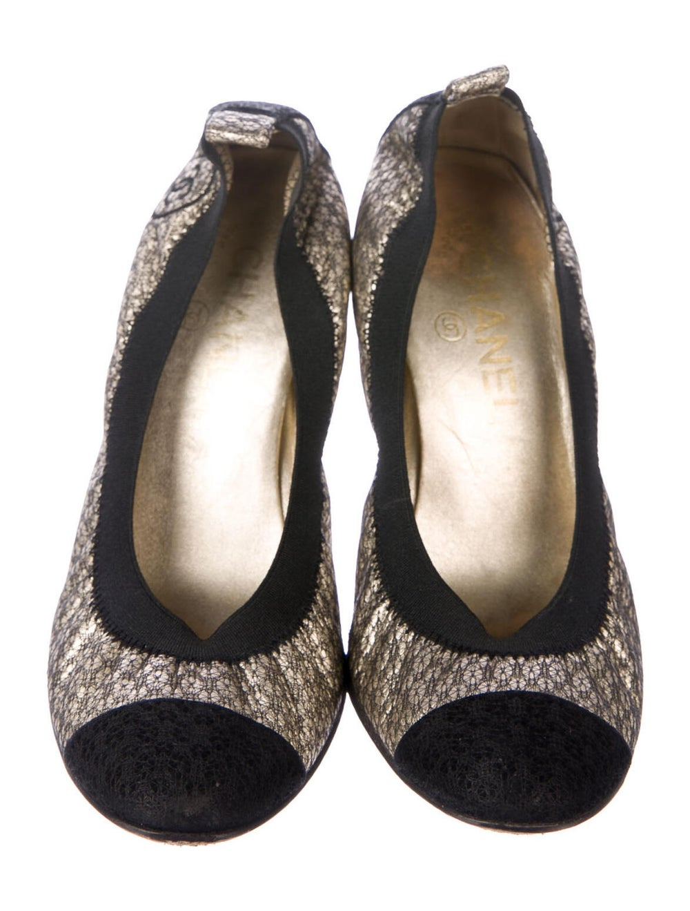 Chanel CC Lace Pumps Pumps Metallic - image 3