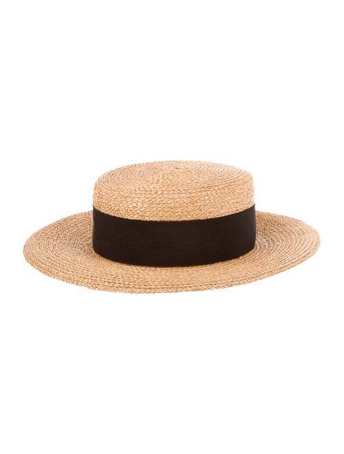 Chanel Wide Brim Straw Hat Tan