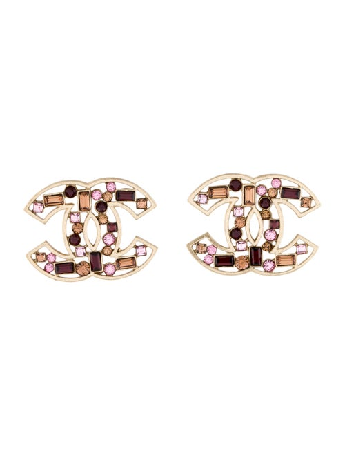 Chanel Strass CC Clip-On Earrings Gold