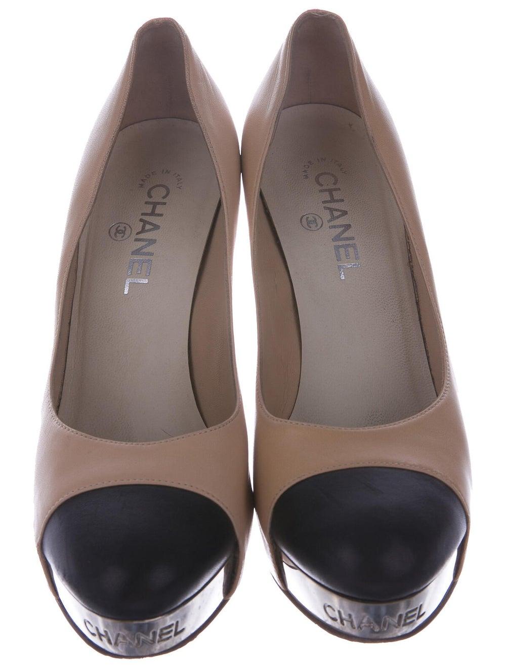 Chanel Cap-Toe Pumps Leather Pumps - image 3