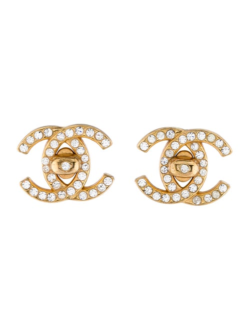 Chanel Vintage Strass CC Clip-On earrings Gold