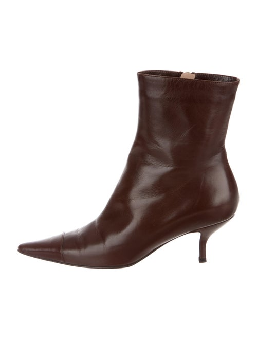 Chanel Leather Ankle Boots Leather Boots Brown
