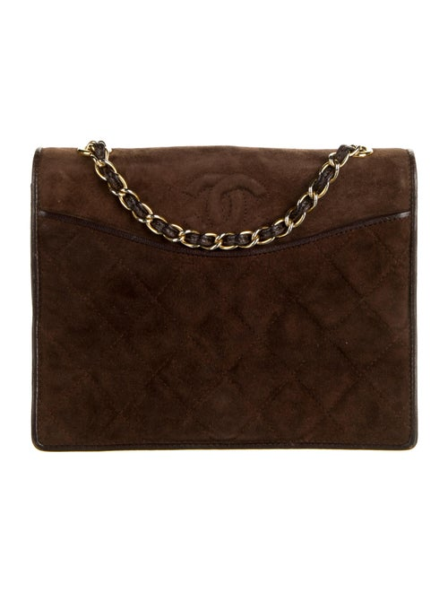 Chanel Vintage Quilted Suede Flap Bag Brown