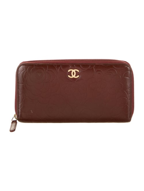 Chanel Camellia L-Gusset Wallet silver