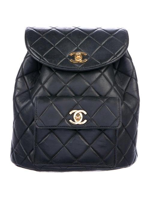 Chanel Vintage Quilted CC Backpack Black