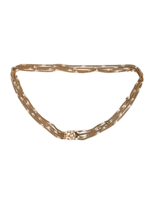Chanel Pearl Embellished CC Chain Belt Gold