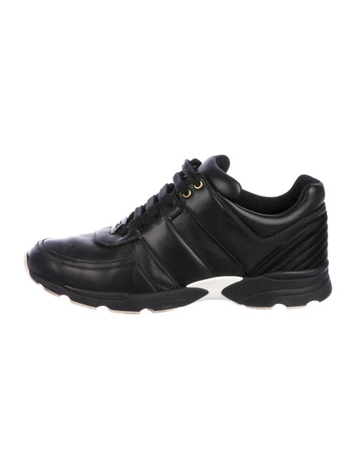 Chanel Leather Logo Sneakers Sneakers Black