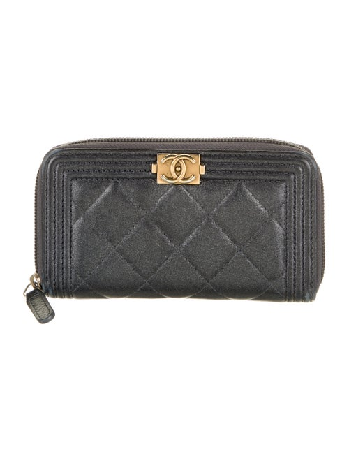Chanel Quilted Boy L-Gusset Wallet Metallic