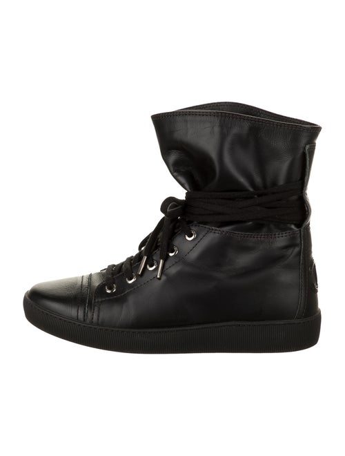 Chanel Leather Sneakers Wedge Sneakers Black