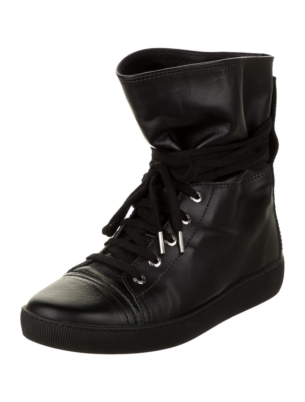 Chanel Leather Sneakers Wedge Sneakers Black - image 2