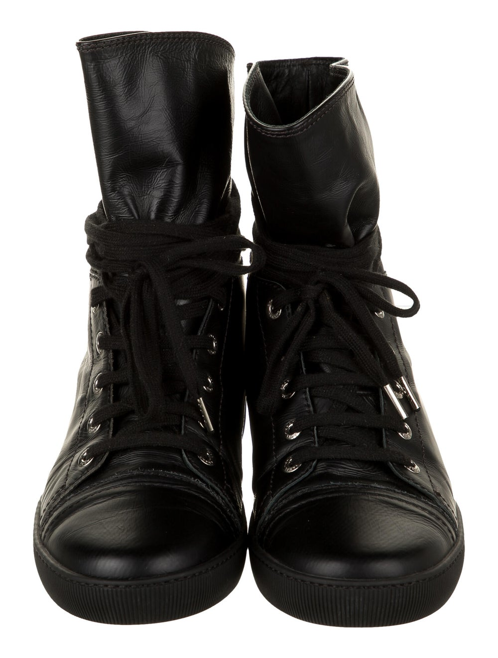 Chanel Leather Sneakers Wedge Sneakers Black - image 3