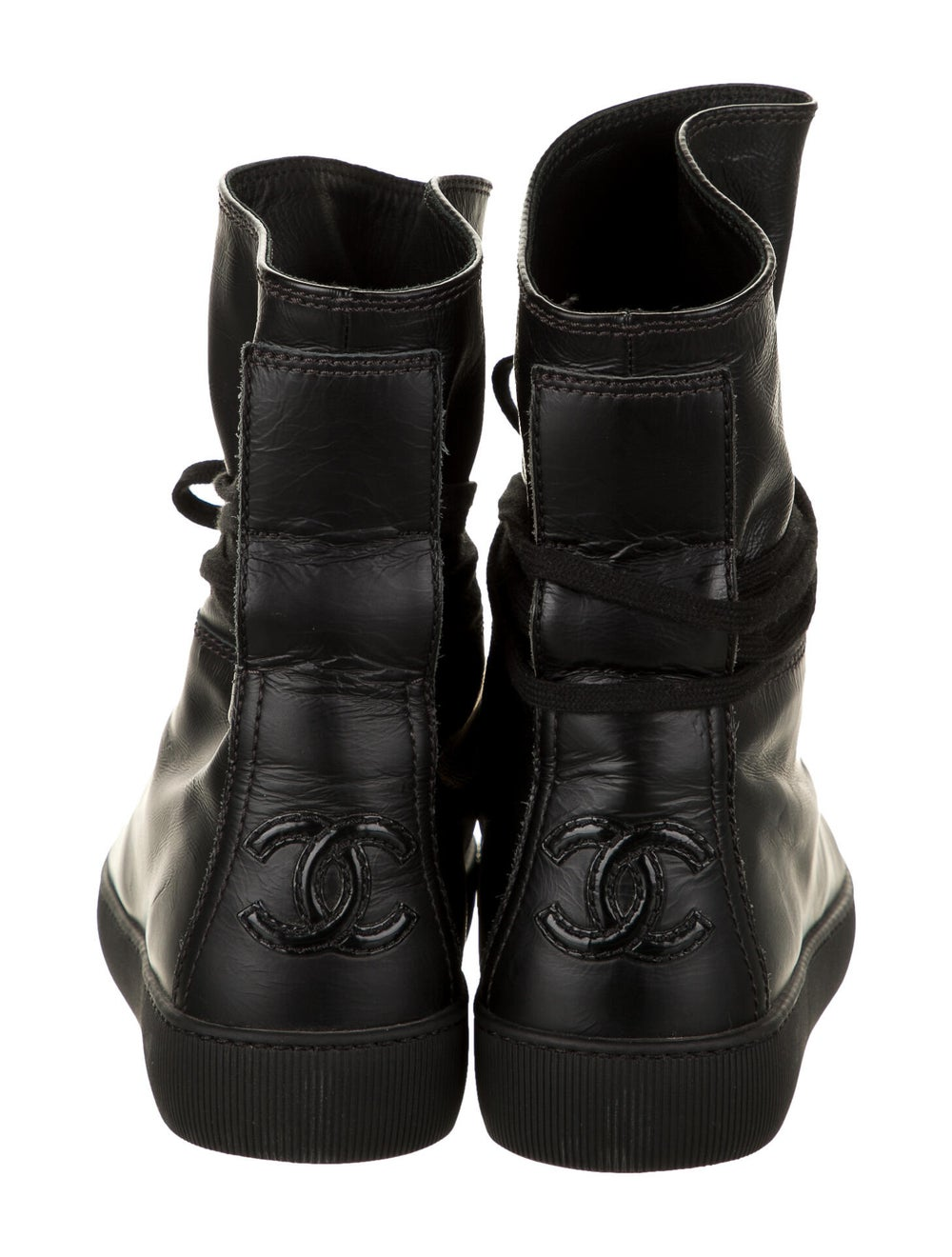 Chanel Leather Sneakers Wedge Sneakers Black - image 4