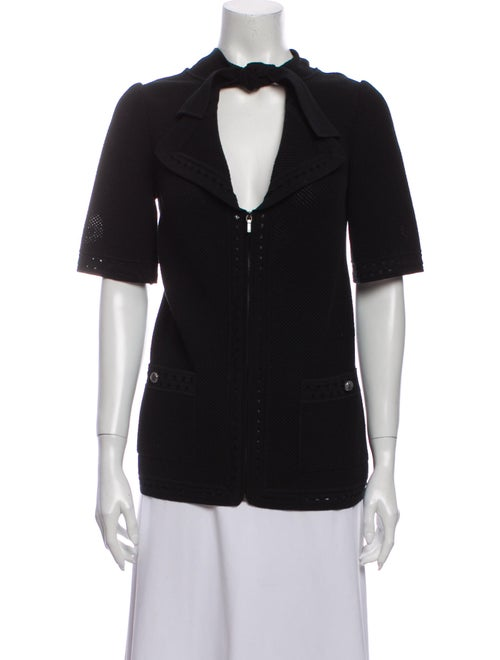Chanel 2015 Knit Short Sleeve Cardigan Sweater Bla