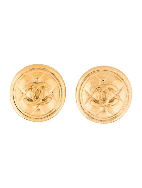 Chanel Vintage CC Quilted Clip-On Earrings Gold