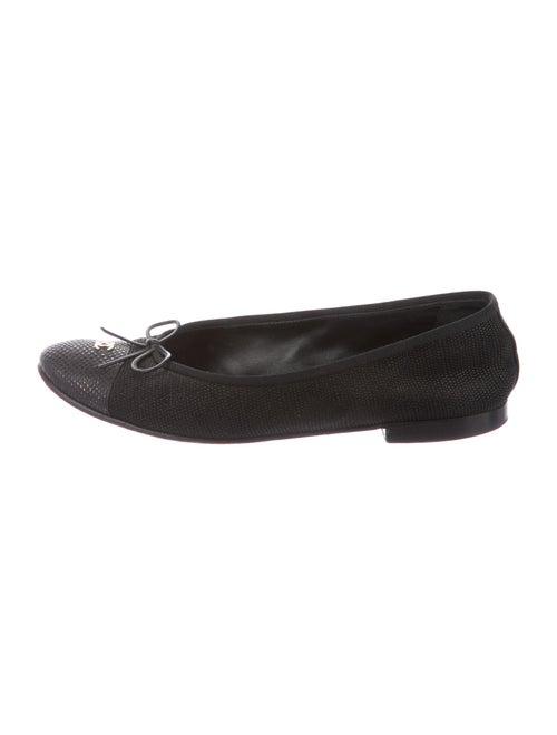 Chanel CC Suede Ballet Flats Black