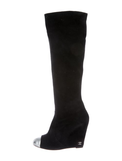 Chanel Suede Wedge Boots Suede Boots Black