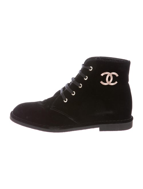 Chanel Graphic Print Boots Black