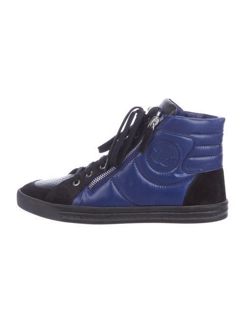 Chanel Quilted High-Top Suede Sneakers Sneakers Bl