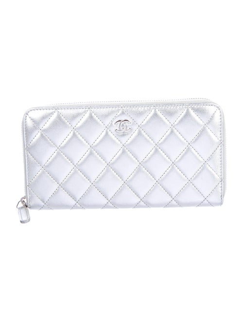 Chanel Quilted L-Gusset Wallet Metallic
