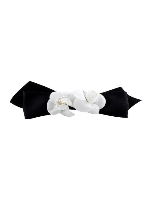 Chanel Vintage Camellia Bow Barrette Black