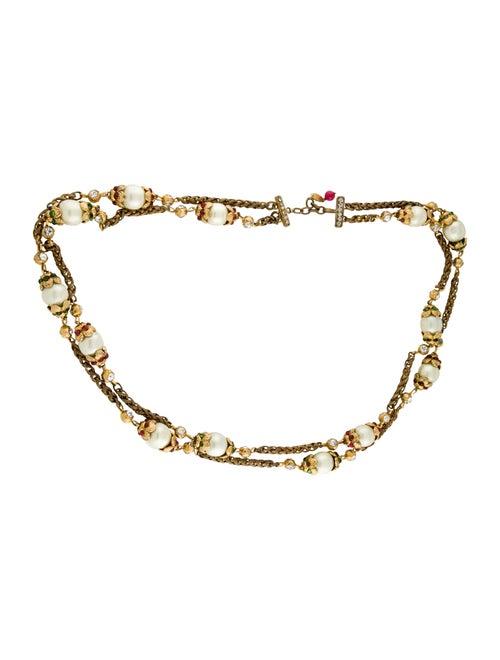 Chanel Embellished Pearl Chain-Link Belt Gold