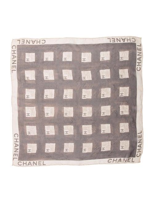 Chanel Silk Geometric Scarf Brown
