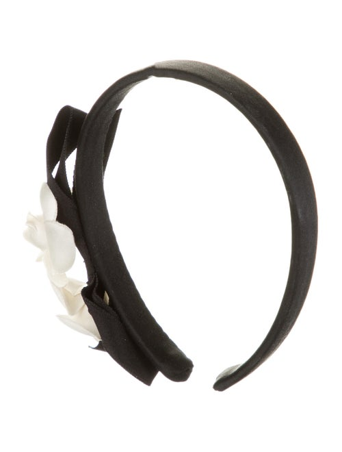 Chanel Vintage Camellia Headband Black