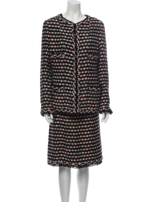 Chanel 2006 Tweed Pattern Skirt Suit Black