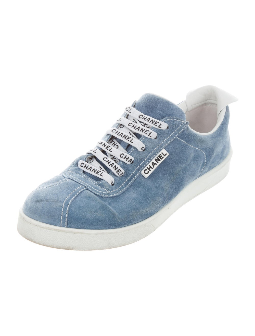 Chanel Logo Suede Sneakers Sneakers Blue - image 2