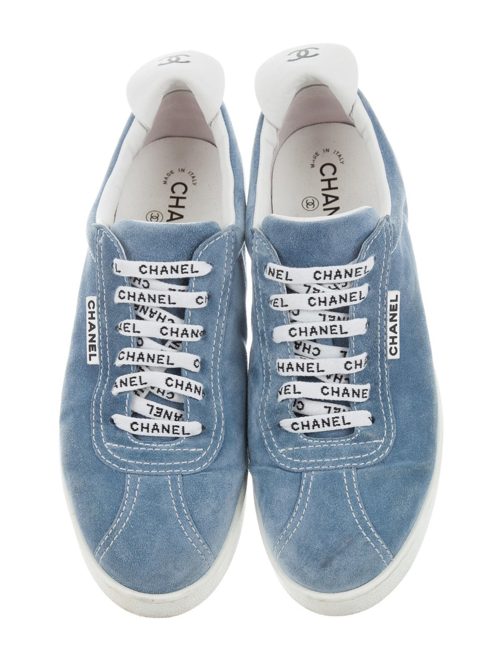 Chanel Logo Suede Sneakers Sneakers Blue - image 3