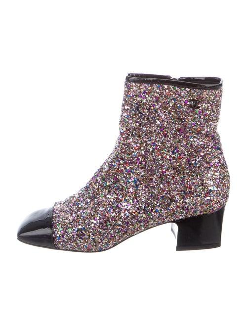 Chanel 2017 CC Glitter Boots Boots Purple