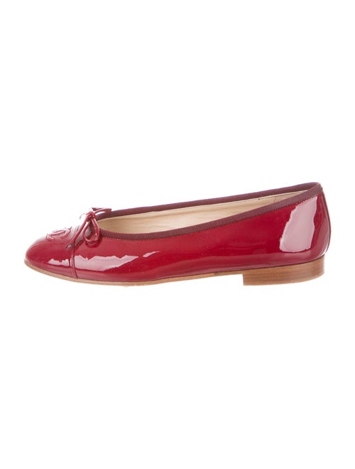 Chanel Patent Leather Ballet Flats Red