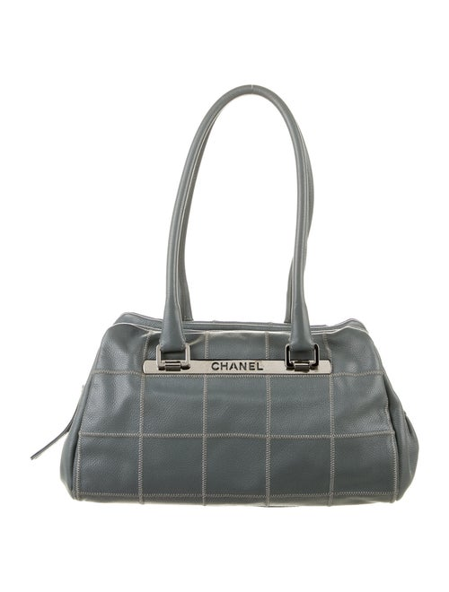 Chanel Square Quilt LAX Bowler Bag Grey
