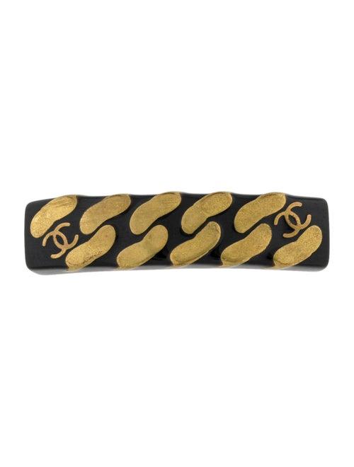Chanel Vintage CC Chain-Link Barrette Black