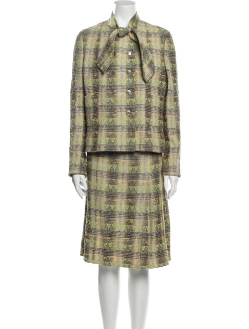 Chanel Vintage 1998 Skirt Suit Green