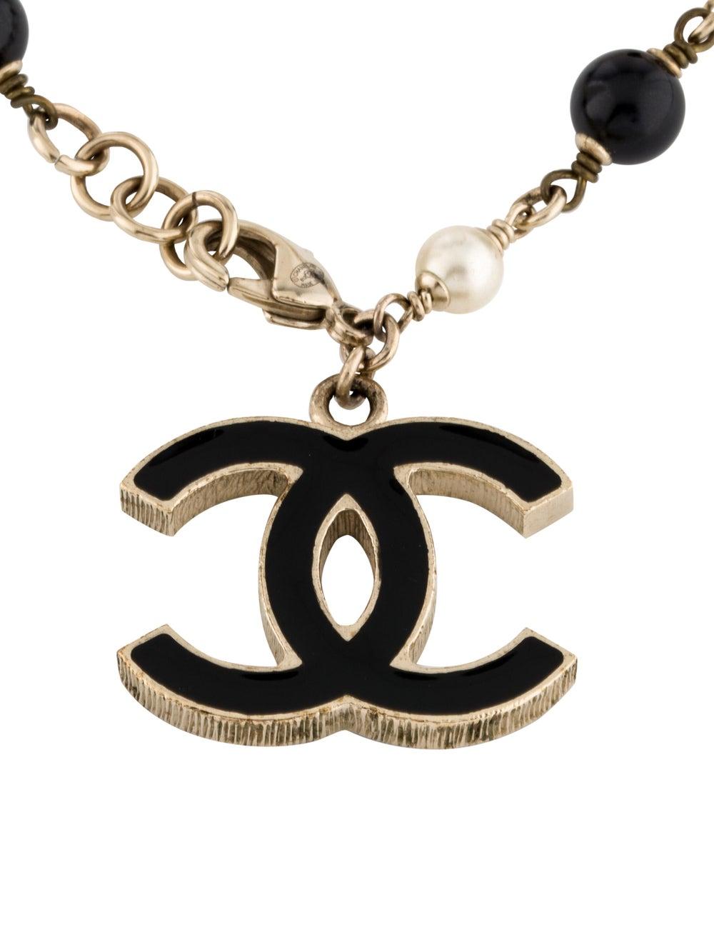 Chanel Faux Pearl & Resin CC Bracelet Gold - image 3