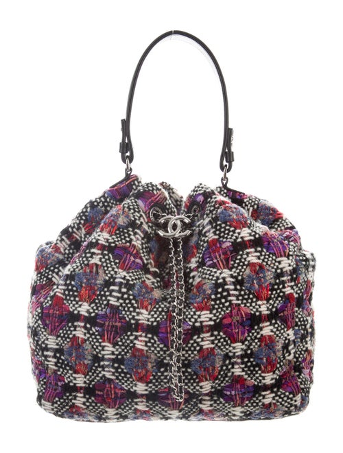 Chanel Tweed Drawstring Bag Cream - image 1