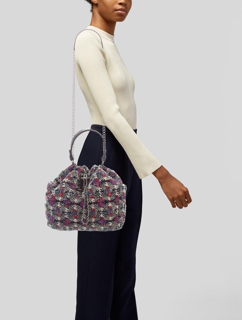 Chanel Tweed Drawstring Bag Cream - image 2